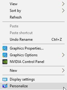 Menú contextual de Windows 10 Personalizar