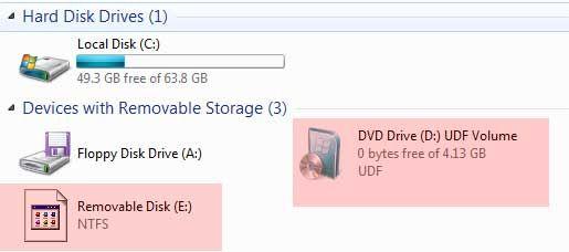 disco de instalación de USB