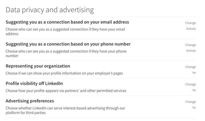privacidad de los datos linkedin
