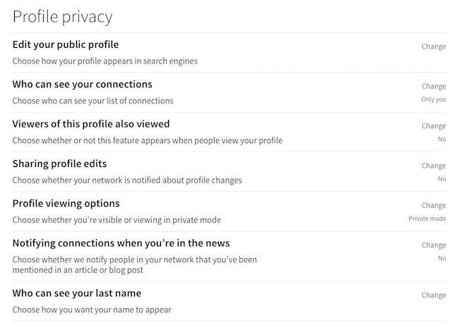 linkedin perfil de privacidad