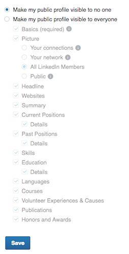 visibilidad perfil público en LinkedIn