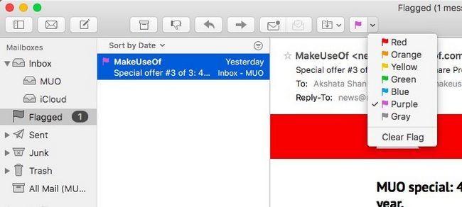 Mac Mail - Marcado de correo electrónico