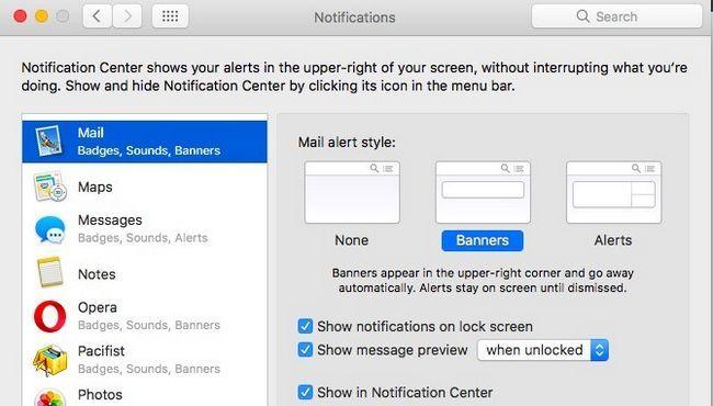 Mac Mail - Banner Notificaciones