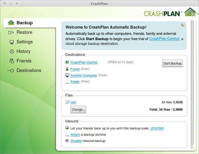 copia de seguridad en Linux-CrashPlan