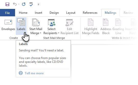 Las etiquetas de Microsoft Word