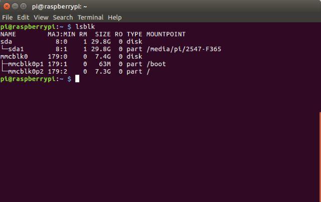 Linux Terminal de arranque Frambuesa Pi 3 con comando LSBLK USB