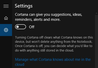Cortana ajustes