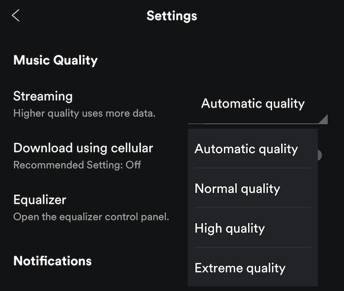 música en streaming Spotify calidad