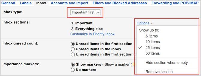 la configuración de Gmail importante primer