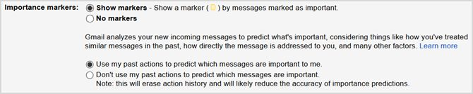 Ajustes de Gmail marcadores importancia