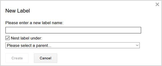 la configuración de Gmail crear etiquetas