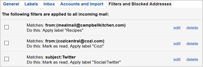 la configuración de Gmail ver los filtros