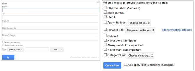 la configuración de Gmail Crear filtro