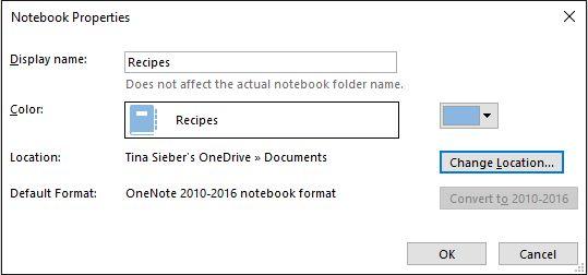 Cuaderno de propiedades de OneNote