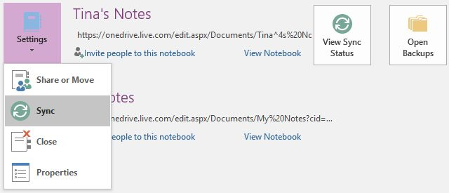 OneNote Notas de sincronización