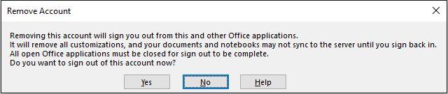 OneNote Salir de cuentas de Microsoft