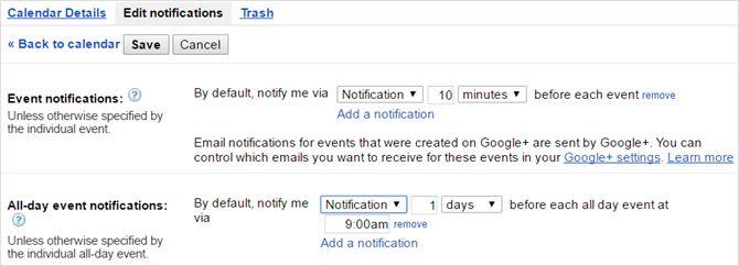 configuración de las notificaciones de Google Calendar otros calendarios