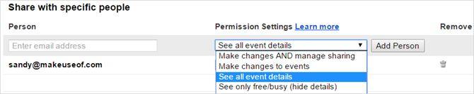 los ajustes del calendario de Google compartido