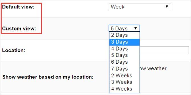 Google vistas personalizadas por defecto calendario