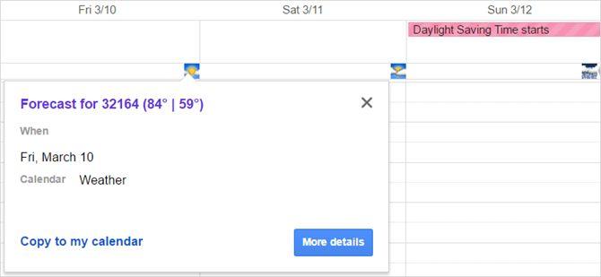 Google Weather calendario