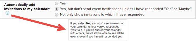 configuración de invitación de Google Calendar