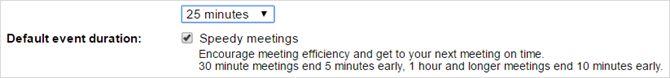 Google rápida duración calendario