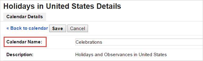 Google nombre de cambio de calendario