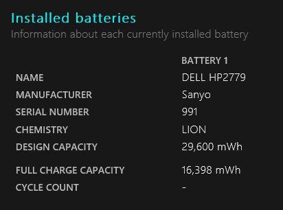 Windows 10 Informe de la batería
