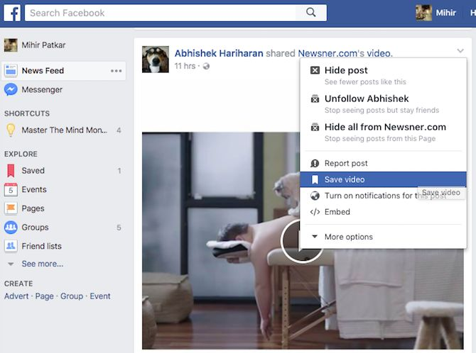 vídeo Favorito Facebook