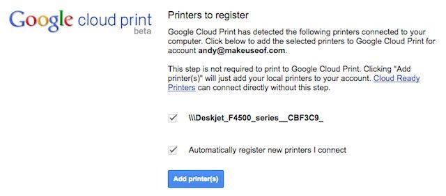 registrar la impresora