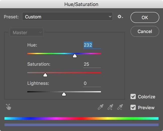 Photoshop Matiz Saturación Luminosidad Sliders