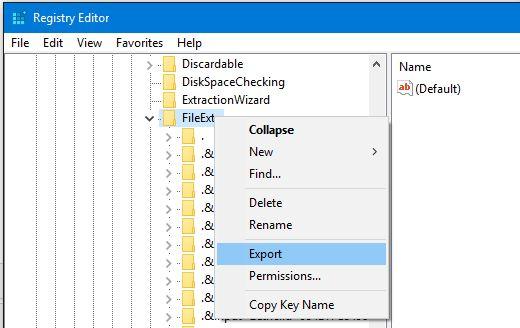 Exportación clave de registro