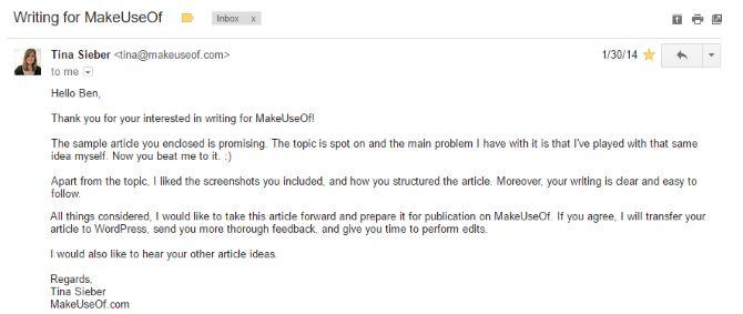 tina de correo electrónico MakeUseOf
