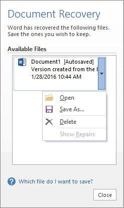 recuperación de documentos