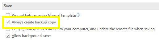 configuración de copia de seguridad