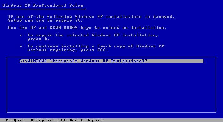 cómo reparar Windows XP