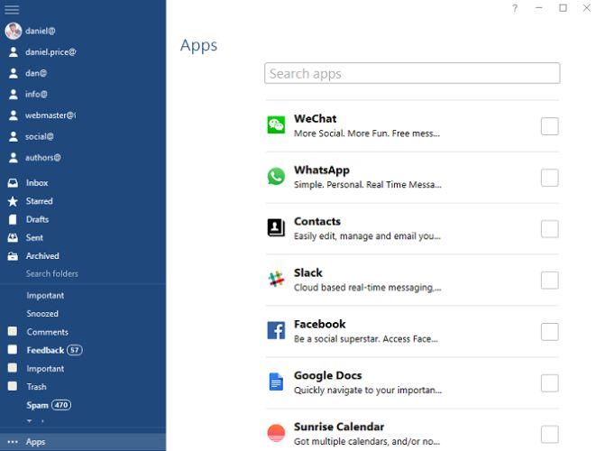 Mailbird aplicación de Windows