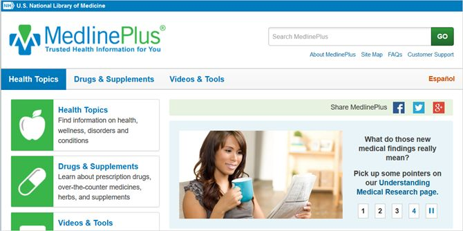 Medline Plus web principal