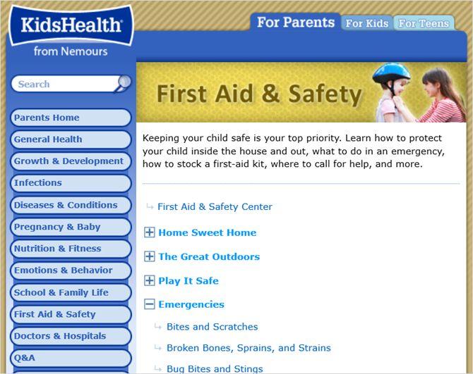 kidshealth web de primeros auxilios