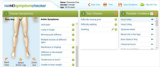 WebMD síntoma corrector