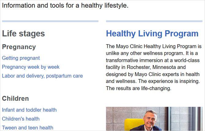 Mayo artículos clínicas Web