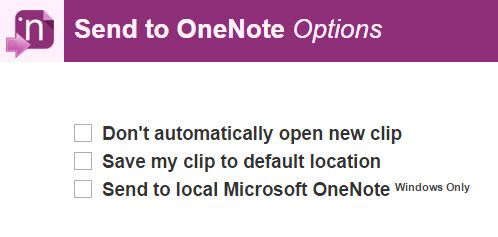 Enviar a OneNote extensión de Chrome