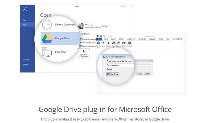 Google Drive Plug-in para Office 2016