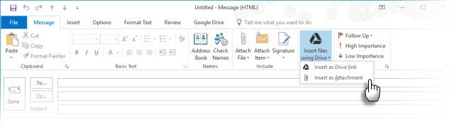 Google Drive Plug-in con Microsoft Outlook