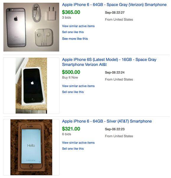iPhones vendidos en eBay precios