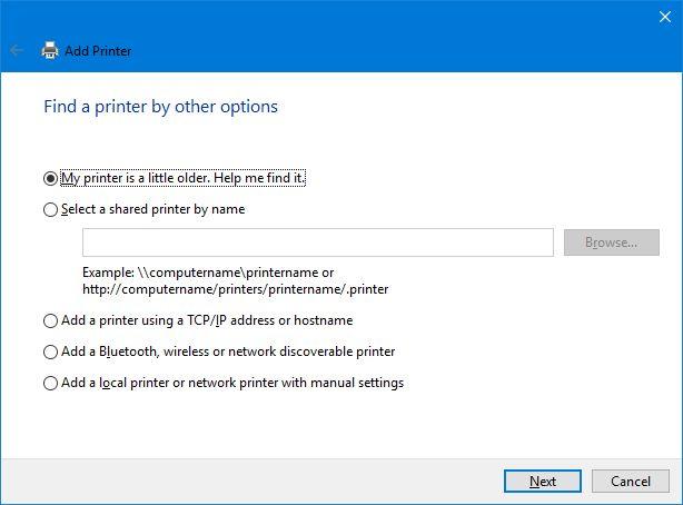 encontrar una impresora por otras opciones