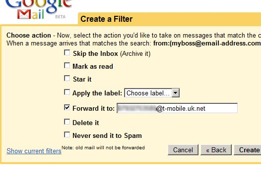 Gmail alerta SMS