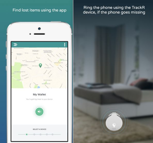 Encuentra su materia con Trackr Mobile App