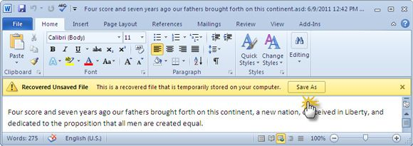 recuperar Word 2010