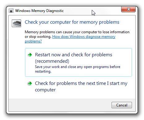 Posibilidades de diagnóstico de memoria de Windows